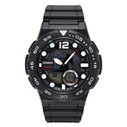Casio® G-Shock Mens Black Analog/Digital Dive Strap Watch AEQ100W-1AV
