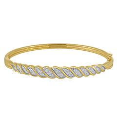 1/10 CT. T.W. Diamond Gold Over Silver Bangle Bracelet