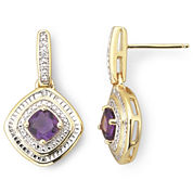 Gold-Plated Sterling Silver Amethyst & Diamond-Accent Earrings