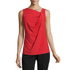 Worthington Sleeveless Cowl Neck T-Shirt-Womens