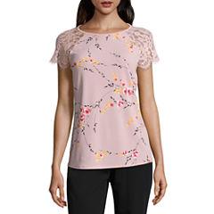 Worthington Short Sleeve Crew Neck T-Shirt-Womens