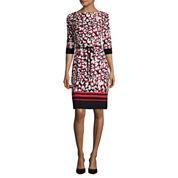 Liz Claiborne® 3/4-Sleeve Abstract Animal Print Shift Dress