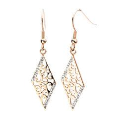 Rose Gold IP Stainless Steel Crystal Rhombus Drop Earrings