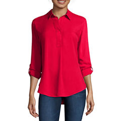 Liz Claiborne® Long-Sleeve Roll-Tab Rayon Blouse