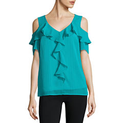 Alyx Ruffle Front Cold Shoulder Top