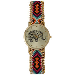 Olivia Pratt Orange Braided Elephant Print Dial Strap Watch 14811