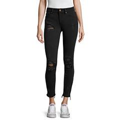 Indigo Rein Destructed Fishnet Skinny Jeans-Juniors