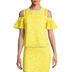 Project Runway Lace Trim Off The Shoulder Top