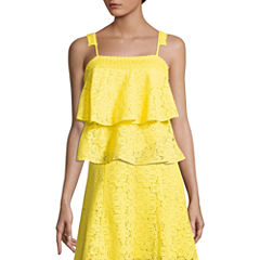 Project Runway Sleeveless Tiered Ruffle Lace Top