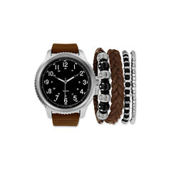 Mens Brown And Black Strap Watch And Bracelet Set Mst5220S100-050
