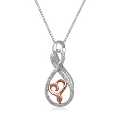 Hallmark Diamonds 1/5 CT.T.W. Diamond Sterling Silver With 14K Rose Gold Accent Pendant Necklace