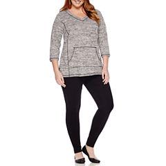 Liz Claiborne® 3/4-Sleeve Pullover or Secretly Slender Skinny Knit Leggings - Plus