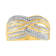 Womens 1/2 CT. T.W. White Diamond Gold Over Silver Cocktail Ring