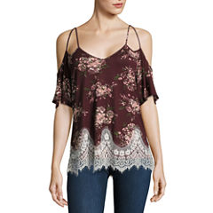 Self Esteem Short Sleeve V Neck Knit Blouse-Juniors