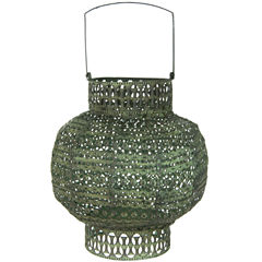 Oriental Furniture Antiqued Wrought Iron Decorative Lantern