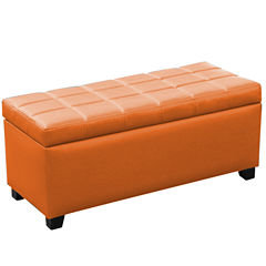Abby Faux Leather Ottoman