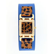 Mixit™ Womens Animal Print Square Dial Watch
