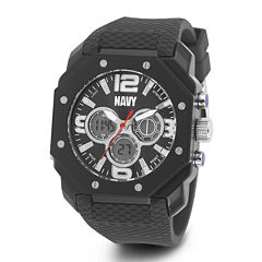 Wrist Armor® C28 Mens US Navy Black Silicone Chronograph Watch