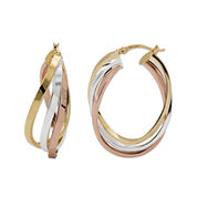 Tri-Tone Tiered Hoop Earrings