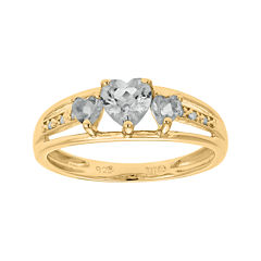 Genuine White Topaz and Diamond-Accent 3-Stone Heart Ring