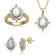 Lab-Created Opal and White Sapphire 14K Gold over Silver Jewelry