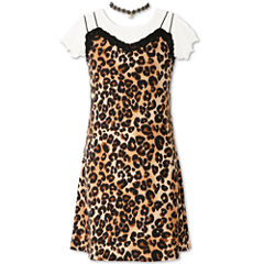 Speechless Animal Print Short Sleeve Slip Dress - Girls' 7-16