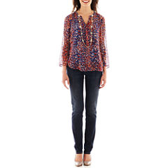 Liz Claiborne® Split-Neck Blouse or City-Fit Boyfriend Skinny Jeans
