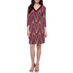 Studio 1® 3/4-Sleeve Faux-Suede-Trim Sheath Dress - Petite