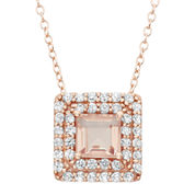 Simulated Morganite & Lab-Created White Sapphire 14K Gold Over Silver Pendant Necklace