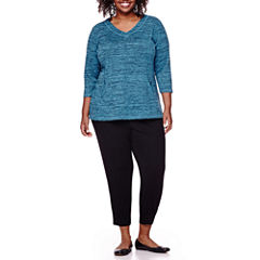 Liz Claiborne® Long-Sleeve Front-Pocket Pullover or Jogger Pants  - Plus