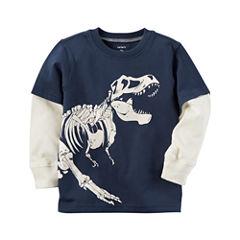 Carter's Long Sleeve Crew Neck T-Shirt-Toddler Boys