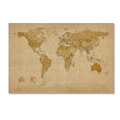 Antique World Map Canvas Wall Art