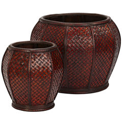 Nearly Natural Rounded Weave Decorative Planters Set Of 2