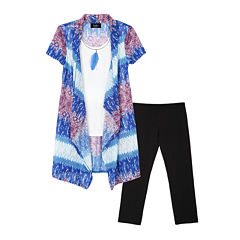 by&by 2-pc. Short-Sleeve Cardigan with Necklace & Leggings Set - Girls 7-16