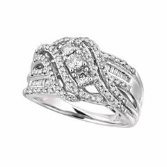 Womens 3/4 CT. T.W. Genuine White Diamond 10K Gold Cocktail Ring