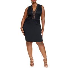 Fashion To Figure Jacqueline Lace Detail Bodycon Dress-Plus