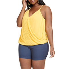 Fashion To Figure Layla Pleated Wrap Front Woven Tank Top-Plus