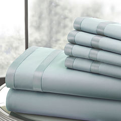 1000 Thread Count Cotton Blend Double Satin Band Hem 6pc Sheet Set