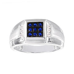 Mens 1/8 CT. T.W Diamond and Lab-Created Blue Sapphire Ring