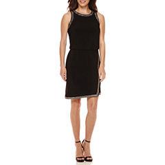 Scarlett Sleeveless Studded-Trim Faux-Wrap Sheath Dress - Petite