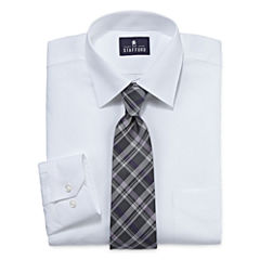 Stafford® Travel Long-Sleeve Easy-Care Dress Shirt and Tie Set