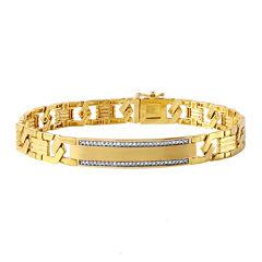 Mens 1/6 CT. T.W. Diamond 10K Gold Link Bracelet