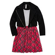 Total Girl® Moto Jacket and Plaid Skater Dress - Girls 7-16
