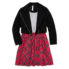 Total Girl® Moto Jacket and Plaid Skater Dress - Girls 7-16