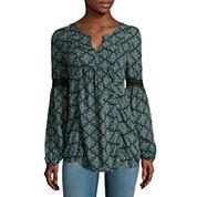 Arizona Long-Sleeve Crochet Detail Blouse - Juniors
