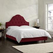 Belfort Upholstered Velvet Arched Tufted Bed