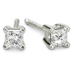 1/5 CT. T.W. 14K White Gold Princess Diamond Studs