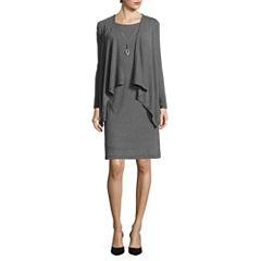 R&K Originals® Long-Sleeve Knit Mock Jacket Dress with Necklace