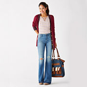 Arizona Varsity Cardigan, Lace-Up Tee or Destructed High-Rise Flare Jeans