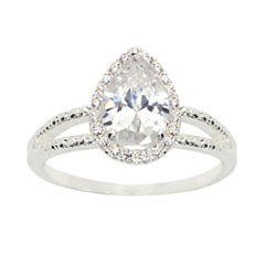 Sparkle Allure Womens Round White Silver Over Brass Engagement Ring